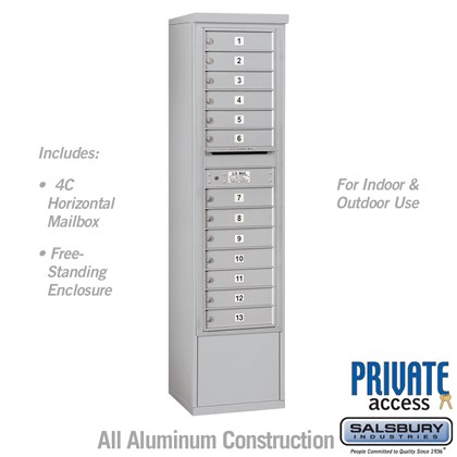 Custom Free-Standing 4C Horizontal Mailbox Unit (Includes 3715S-13 Mailbox, 3915S Enclosure and Master Commercial Lock) - 15 Door High Unit (72 Inches) - Single Column - 13 MB1 Doors