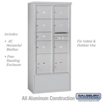 Custom Free-Standing 4C Horizontal Mailbox Unit (Includes 3716D-07 Mailbox and 3916D Enclosure) - Maximum Height Unit (72 Inches) - Double Column - 1 MB2 Door / 6 MB3 Doors / 2 PL4.5's