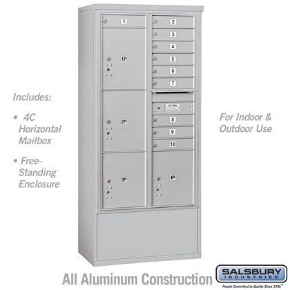 Free-Standing 4C Horizontal Mailbox Unit (includes (includes 3716D-10 Mailbox and 3916D Enclosure) - Maximum Height Unit (72 Inches) - Double Column - 10 MB1 Doors / 2 PL4.5's and 2 PL5's - Front Loading - USPS Access