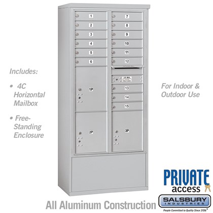 Free-Standing 4C Horizontal Mailbox Unit (includes 3716D-15 Mailbox and 3916D Enclosure) - Maximum Height Unit (72 1/8 Inches) - Double Column - 15 MB1 Doors / 2 PL4.5's and 1 PL5 - Front Loading - Private Access