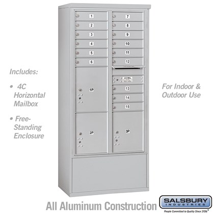 Free-Standing 4C Horizontal Mailbox Unit (includes 3716D-15 Mailbox and 3916D Enclosure) - Maximum Height Unit (72 Inches) - Double Column - 15 MB1 Doors / 2 PL4.5's and 1 PL5 - Front Loading - USPS Access
