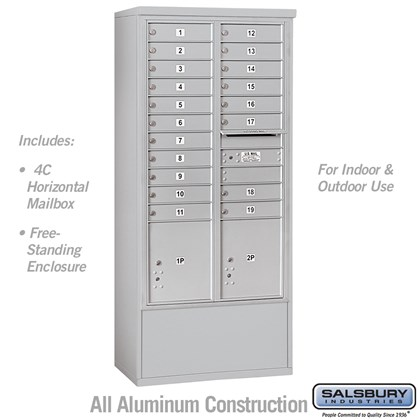 Custom Free-Standing 4C Horizontal Mailbox Unit (Includes 3716D-19 Mailbox and 3916D Enclosure) - Maximum Height Unit (72 Inches) - Double Column - 19 MB1 Doors / 2 PL4.5's