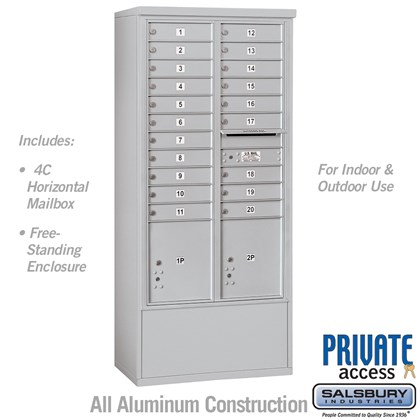 Free-Standing 4C Horizontal Mailbox Unit (Includes 3716D-20 Mailbox and 3916D Enclosure) - Maximum Height Unit (72 1/8 Inches) - Double Column - 20 MB1 Doors / 2 PL4.5's - Private Access