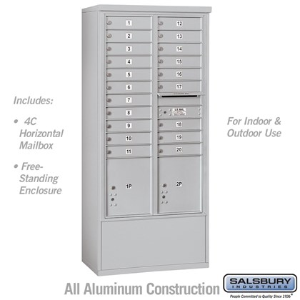 Free-Standing 4C Horizontal Mailbox Unit (Includes 3716D-20 Mailbox and 3916D Enclosure) - Maximum Height Unit (72 Inches) - Double Column - 20 MB1 Doors / 2 PL4.5's