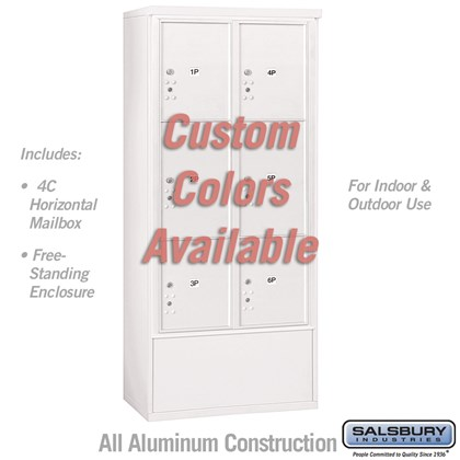 Free-Standing 4C Horizontal Mailbox Unit (Includes 3716D-6PCFU Parcel Locker and 3916D-CST Enclosure) - Maximum Height Unit (72 1/8 Inches) - Double Column - Stand-Alone Parcel Locker - 2 PL4.5's, 2 PL5's and 2 PL6's - Custom Color - Front Loading