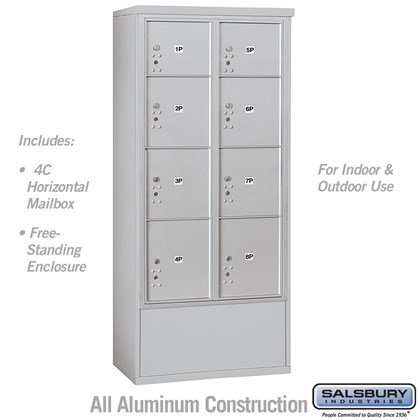 Free-Standing 4C Horizontal Mailbox Unit (Includes 3716D-8P Mailbox and 3916D Enclosure) - Maximum Height Unit (72 1/8 Inches) - Double Column - Stand-Alone Parcel Locker - 2 PL3's, 4 PL4's and 2 PL4.5's - Front Loading - USPS Access