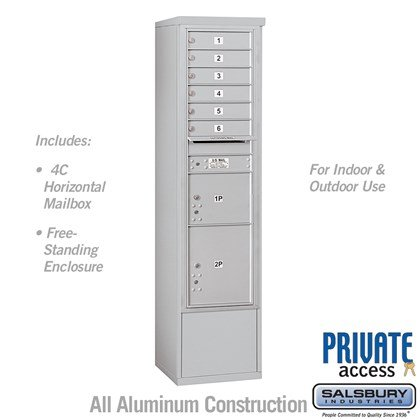 Free-Standing 4C Horizontal Mailbox Unit (includes 3716S-06 Mailbox and 3916S Enclosure) - Maximum Height Unit (72 1/8 Inches) - Single Column - 6 MB1 Doors / 1 PL3 and 1 PL4.5 - Front Loading - Private Access