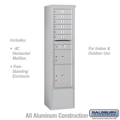 Free-Standing 4C Horizontal Mailbox Unit (includes 3716S-06 Mailbox and 3916S Enclosure) - Maximum Height Unit (72 Inches) - Single Column - 6 MB1 Doors / 1 PL3 and 1 PL4.5 - Front Loading - USPS Access