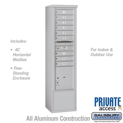 Free-Standing 4C Horizontal Mailbox Unit (Includes 3716S-09 Mailbox and 3916S Enclosure) - Maximum Height Unit (72 1/8 Inches) - Single Column - 9 MB1 Doors / 1 PL4.5 - Private Access