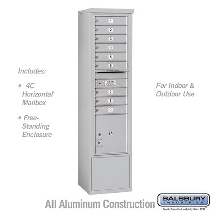 Free-Standing 4C Horizontal Mailbox Unit (Includes 3716S-09 Mailbox and 3916S Enclosure) - Maximum Height Unit (72 Inches) - Single Column - 9 MB1 Doors / 1 PL4.5