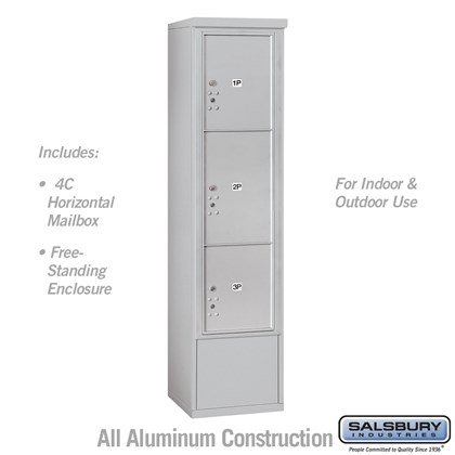Free-Standing 4C Horizontal Mailbox Unit (Includes 3716S-3P Parcel Locker and 3916S Enclosure) - Maximum Height Unit (72 Inches) - Single Column - Stand-Alone Parcel Locker - 1 PL4.5, 1 PL5 and 1 PL6
