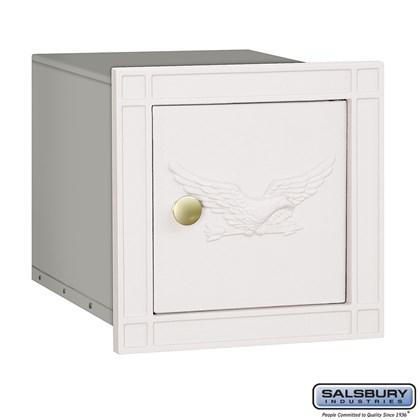 Cast Aluminum Column Mailbox - Non-Locking - Eagle Door - White