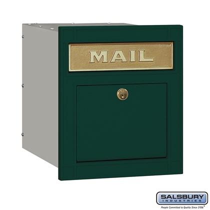 Cast Aluminum Column Mailbox - Locking - Plain Door - Green