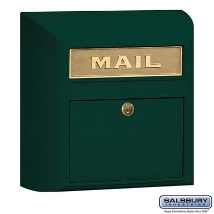 Modern Mailbox - Plain Door - Green
