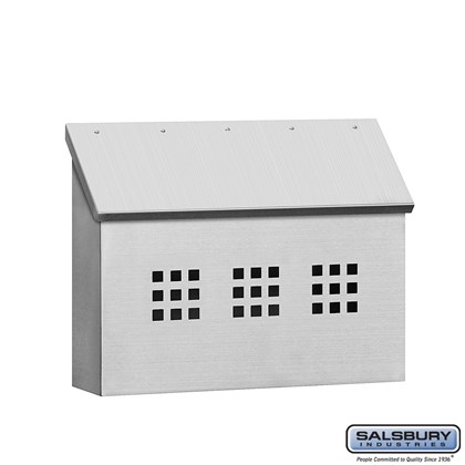 Stainless Steel Mailbox - Decorative - Horizontal Style