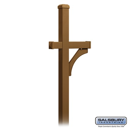 Deluxe Mailbox Post - 1 Sided - In-Ground Mounted - Brass
