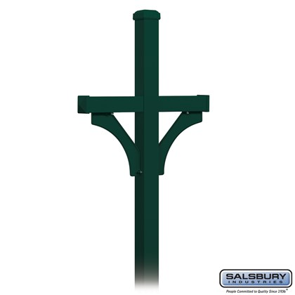 Deluxe Mailbox Post - 2 Sided for (2) Mailboxes - In-Ground Mounted - Green