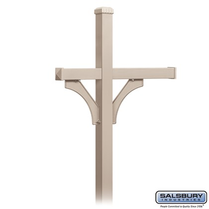 Deluxe Mailbox Post - 2 Sided for (3) Mailboxes - In-Ground Mounted - Beige