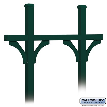 Deluxe Mailbox Post - Bridge Style for (5) Mailboxes - In-Ground Mounted - Green